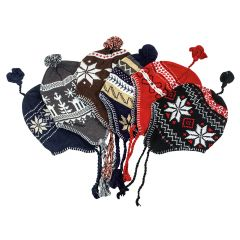 ASSORTED WINTER KNIT HATS WITH EAR FLAPS 6 PACK