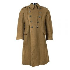 ROMANIAN MILITARY SURPLUS WOOL TRENCH COAT OLIVE DRAB USED