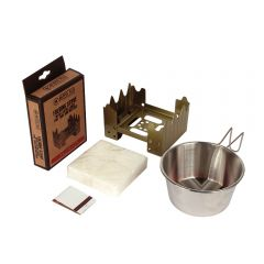 FOLDING STOVE WITH FUEL TABS & MATCHES AND 16OZ STAINLESS STEEL SIERRA CUP COMBO